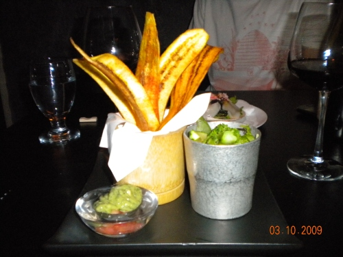 "Fried ""Dancing Plantain"" with Guacamole and Tomato Dipping Sauce"